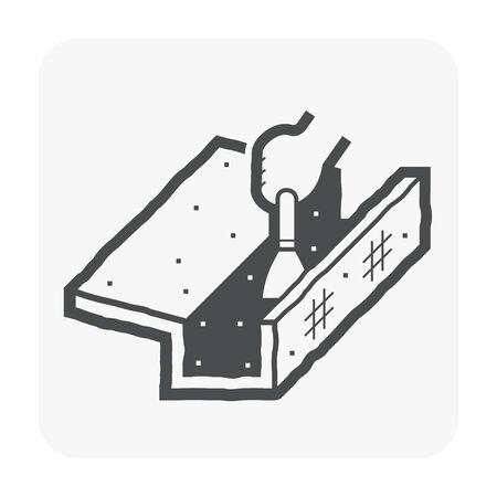 Symbol für Reinigung und Wartung der Dachrinne. Vektorgrafik