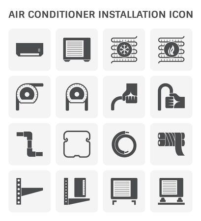 Air conditioner installation and copper pipe vector icon set design.