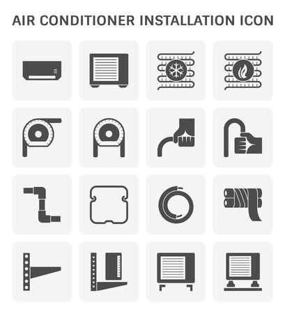 Instalacja klimatyzatora i miedziana rura wektor zestaw ikon.