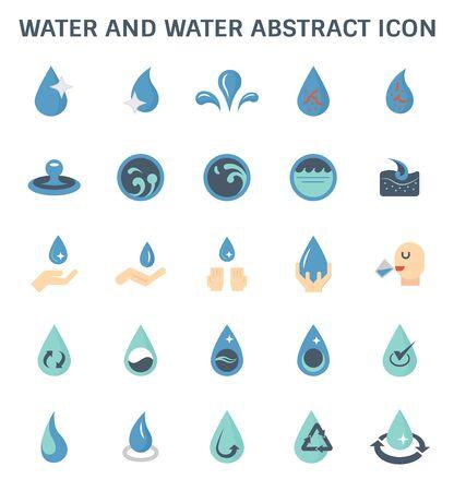 Résumé de l'eau et de l'eau et conception de jeu d'icônes vectorielles de traitement de l'eau.