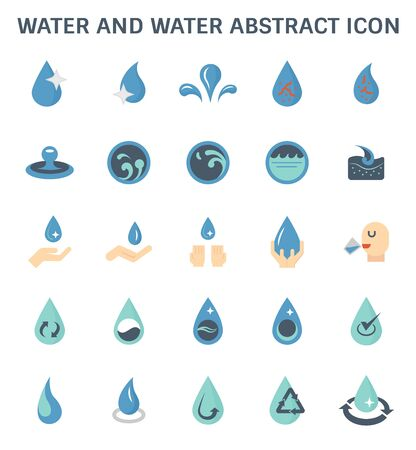 Water and water abstract and water treatment vector icon set design.
