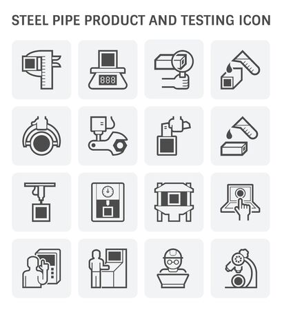 Steel pipe product and testing vector icon design. Reklamní fotografie - 134327109