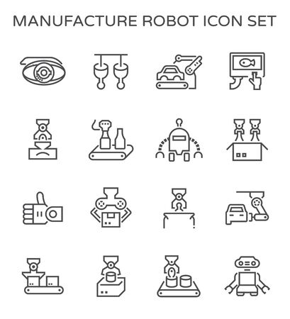 Robot and production industrial work vector icon design for production work graphic design element. Standard-Bild - 134327115