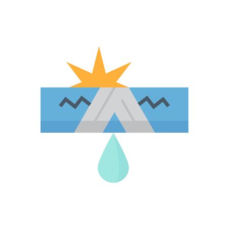 Burst pipe and water leak vector icon design for plumbing work graphic design element. Illustration