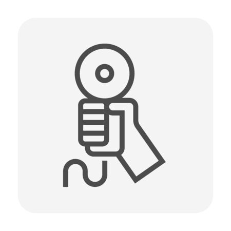 Cutting tool vector icon design for steel work graphic design element, editable stroke.