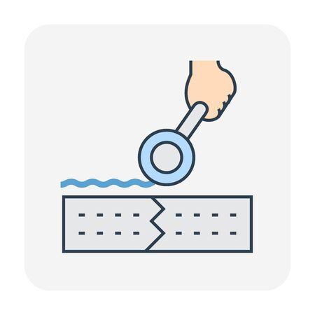Waterproof and water leak repair icon, editable stroke.