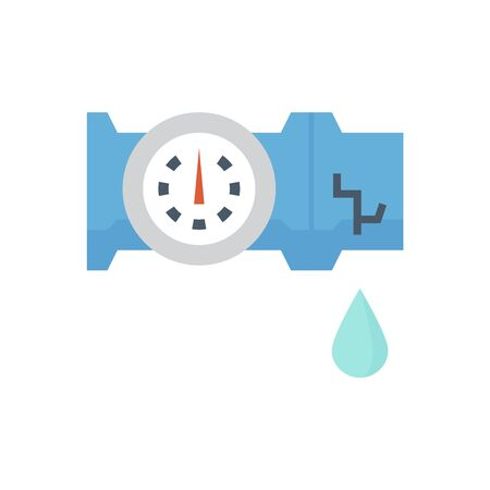 Burst pipe and water leak vector icon design for plumbing work graphic design element. Ilustrace