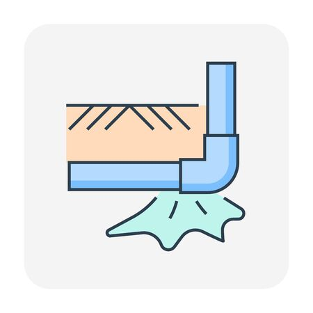 Burst pipe and water leak icon, editable stroke.