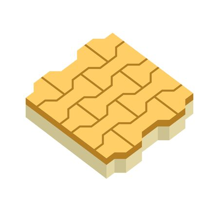 Concrete paver block brick floor icon for landscaping design. Ilustrace