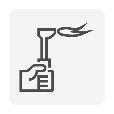Gas cutting torch vector icon design for welding work graphic design element, editable stroke.