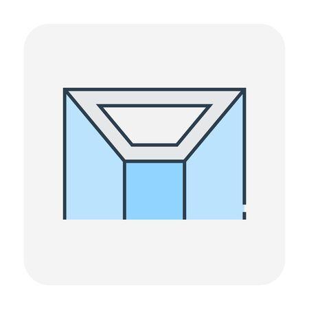 Ceiling work and material icon, editable stroke. Ilustración de vector