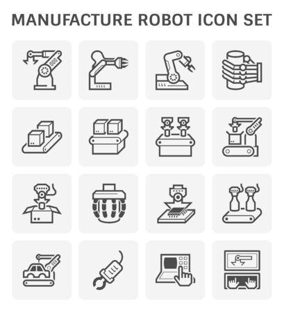 Manufacture robot and production line icon set. Standard-Bild - 134582672