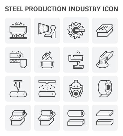 Jeu d'icônes vectorielles de l'industrie de la production d'acier et de métal.