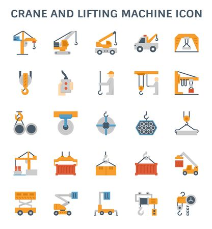 Crane and lifting machine vector icon set design.