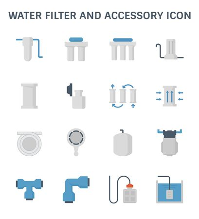 Water filter and purification vector icon set design Illustration
