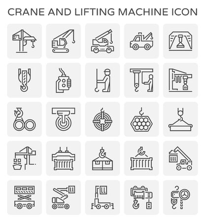 Crane and lifting machine vector icon set design, editable stroke.