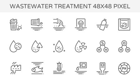 Wastewater and water treatment vector icon set, 48x48 pixel perfect  and editable stroke. Ilustração