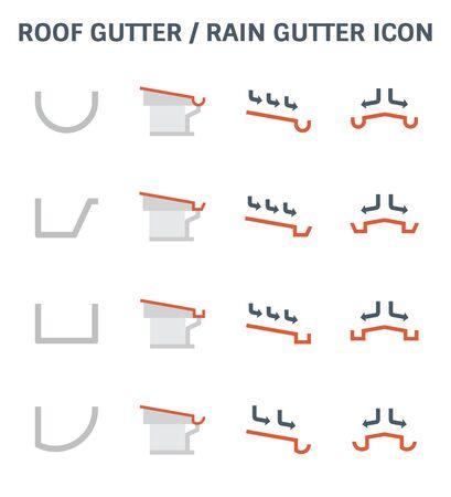 Dachrinne oder Regenrinne und Entwässerungssystem Icon Set Design.