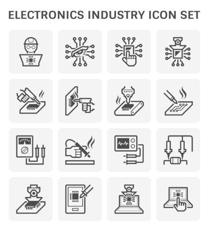 Technologia przemysłu elektronicznego, procesor chipów komputerowych i zestaw ikon wektorowych płytek drukowanych, edytowalny skok i regulacja.