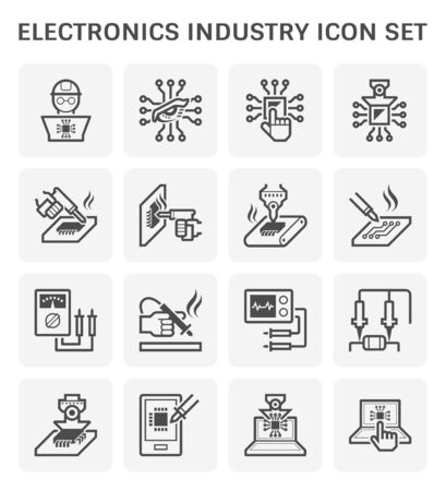 Tecnología de la industria electrónica, procesador de chips de computadora y diseño de conjunto de iconos vectoriales de placa de circuito, trazo editable y ajustable.