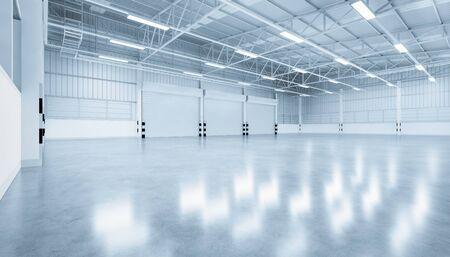 3d rendering of shutter door and concrete floor inside warehouse building for industrial background.