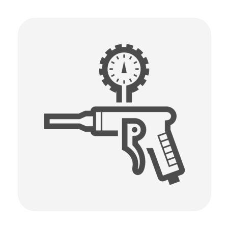 Air compressor gun and pressure gauge icon design, editable stroke.
