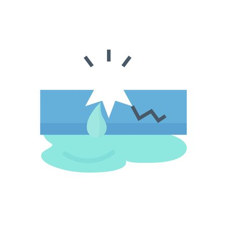 Burst pipe and water leak vector icon design for plumbing work graphic design element. Ilustracja