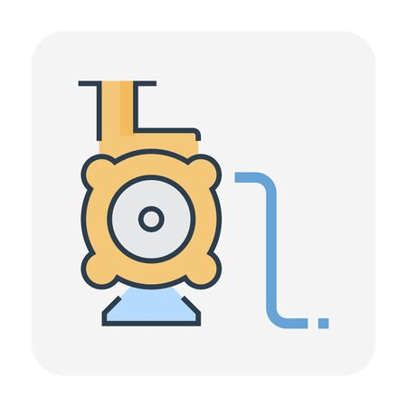 Water pump and water pipe icon for distribution water, editable stroke. Ilustração