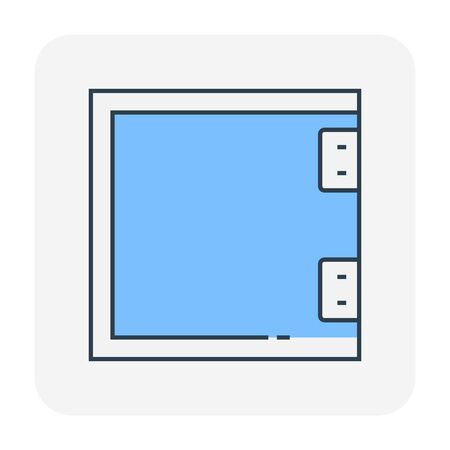 Partition wall or divide space equipment icon, editable stroke.