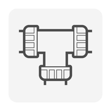 Pe pipe connector for construction work vector icon design for pe pipe graphic design element work. Illusztráció