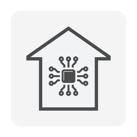 Smart home and micro chip technology vector icon design.