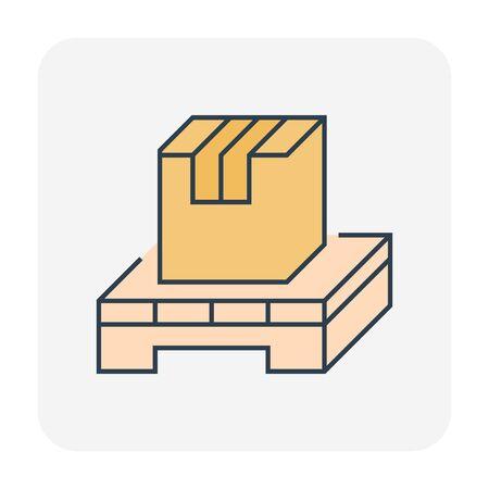 Carton box package icon design for shipping work, editable stroke. Ilustracja