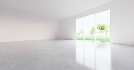 3d rendering of empty room with concrete floor for background.