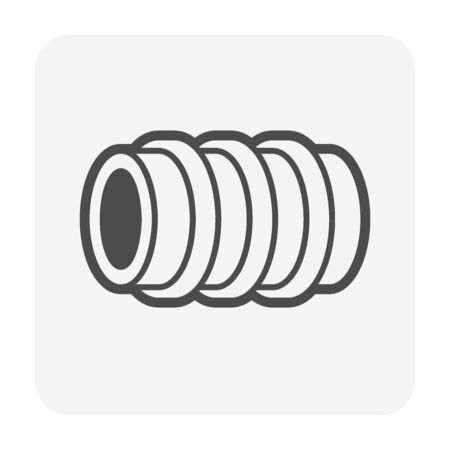 Pe pipe material for construction work vector icon design for pe pipe graphic design element work.