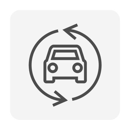 Gebrauchtwagen- und Händlersymbol für das Grafikdesignelement des Gebrauchtwagengeschäfts, bearbeitbarer Strich.