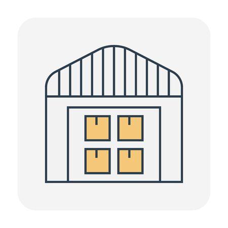 Carton box package and warehouse icon design, editable stroke.