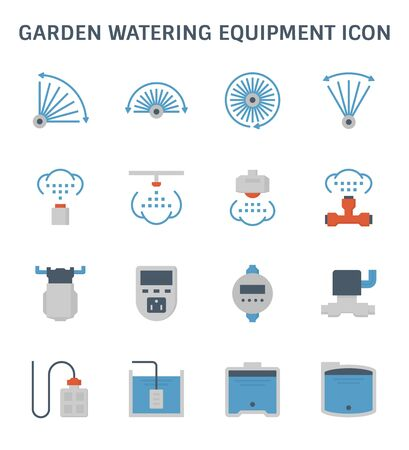Garden watering equipment and sprinkler icon set for automatic sprinkler system graphic design element. Ilustracja