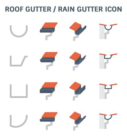 Roof gutter or rain gutter and drainage system icon set design.