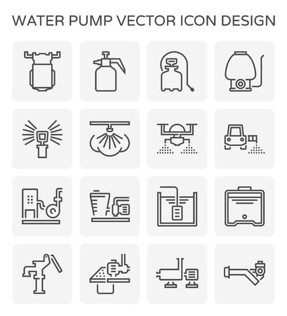 Electric water pump and sprinkler for agriculture graphic design element, editable stroke.