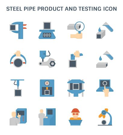 Steel pipe product and testing vector icon design.
