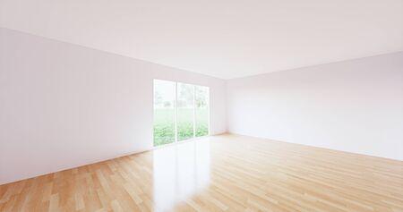 3D rendering of empty room with wood floor.