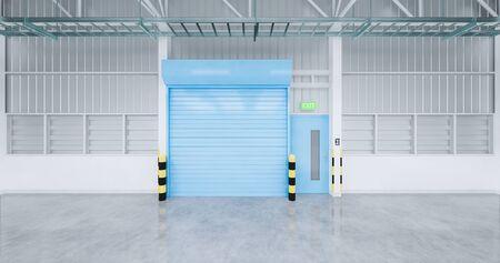 3d rendering of factory and shutter door and concrete floor for industrial background.