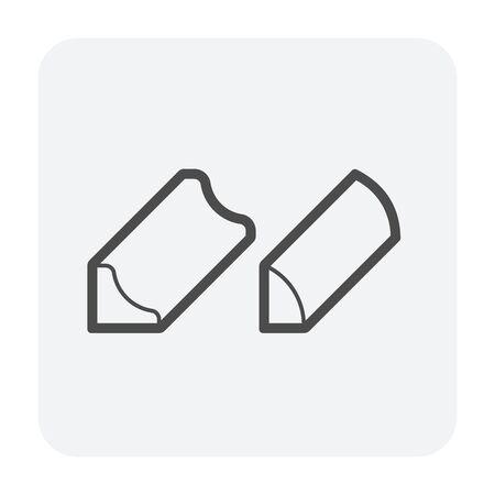 Wood floor cube icon, black color.