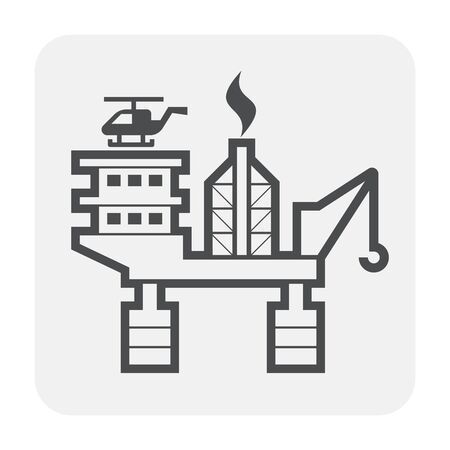 Oil rig icon design, black and outline.