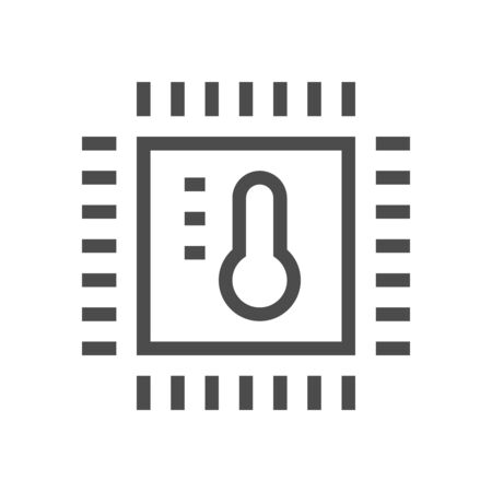 Computer chip processor temperature technology for smart home concept vector icon design.