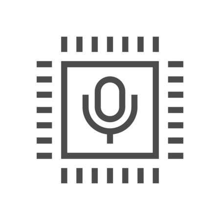 Computer chip processor and voice control technology vector icon design.