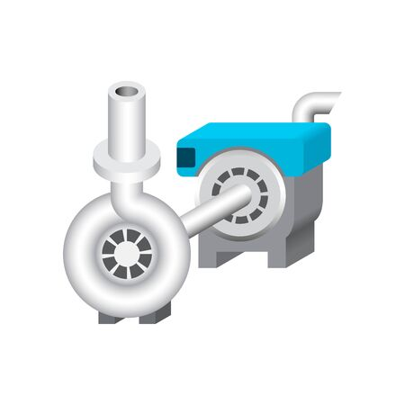 Electric water pump and agriculture equipment for water distribution isolated on white background. Ilustrace