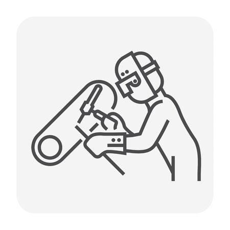 Welder and pipeline welding work vector icon design, editable stroke.