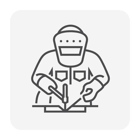 Welder and welding vector icon design, editable stroke. Illusztráció