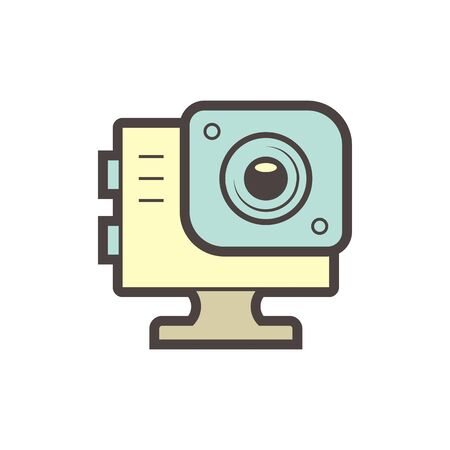 Sport camera and photography equipment vector icon design on white.